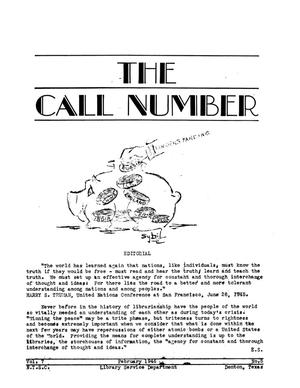 Primary view of object titled 'The Call Number, Volume 7, Number 5, February 1946'.