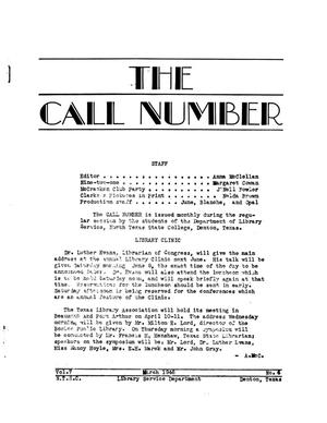 Primary view of object titled 'The Call Number, Volume 7, Number 6, March 1946'.
