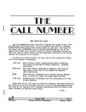 Primary view of object titled 'The Call Number, Volume 7, Number 7, April 1946'.