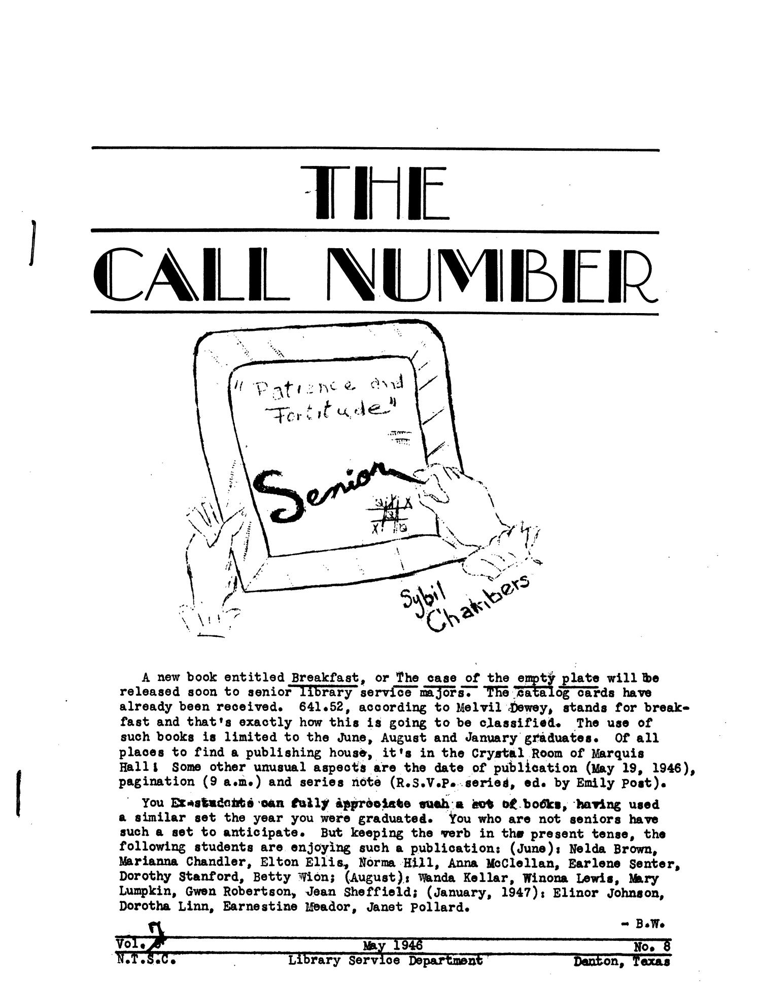 The Call Number, Volume 7, Number 8, May 1946                                                                                                      31