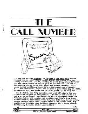 Primary view of object titled 'The Call Number, Volume 7, Number 8, May 1946'.