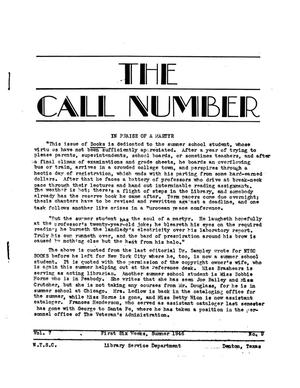The Call Number, Volume 7, Number 9, First Six Weeks, Summer 1946