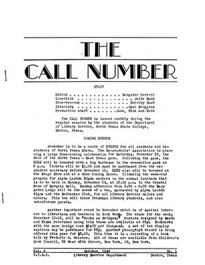 The Call Number, Volume 8, Number 1, October 1946