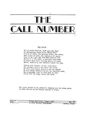 Primary view of object titled 'The Call Number, Volume 8, Number 10, Second Six Weeks, Summer 1947'.