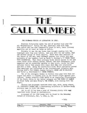 Primary view of object titled 'The Call Number, Volume 8, Number 4, January 1947'.