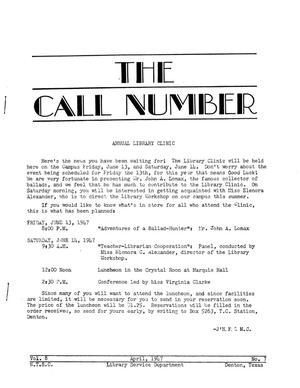 Primary view of object titled 'The Call Number, Volume 8, Number 7, April 1947'.