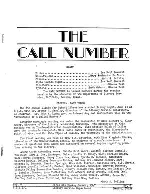 Primary view of object titled 'The Call Number, Volume 8, Number 9, First Six Weeks, Summer 1947'.