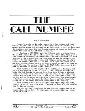 The Call Number, Volume 9, Number 1, October 1947