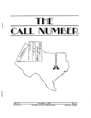 The Call Number, Volume 9, Number 2, November 1947