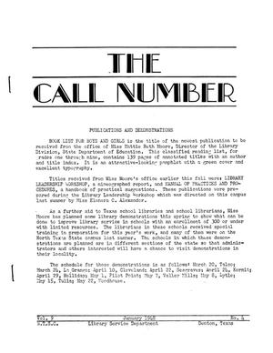Primary view of object titled 'The Call Number, Volume 9, Number 4, January 1948'.