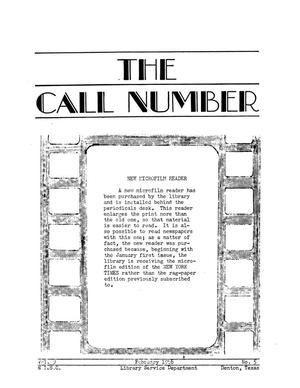 The Call Number, Volume 9, Number 5, February 1948