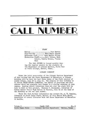 The Call Number, Volume 9, Number 6, March 1948