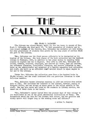 The Call Number, Volume 9, Number 7, April 1948