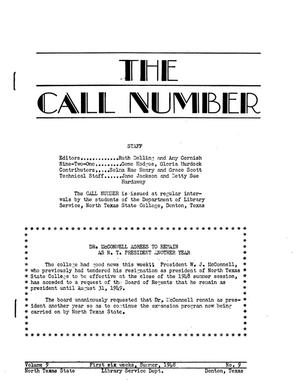 Primary view of object titled 'The Call Number, Volume 9, Number 9, First Six Weeks, Summer 1948'.