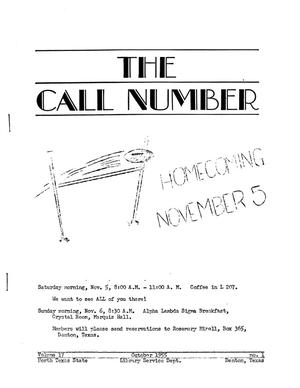 Primary view of object titled 'The Call Number, Volume 17, Number 1, October 1955'.