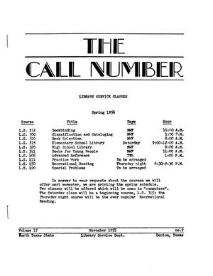 Primary view of object titled 'The Call Number, Volume 17, Number 2, November 1955'.