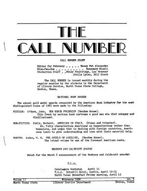 Primary view of object titled 'The Call Number, Volume 17, Number 5, February 1956'.