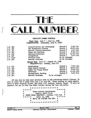 Primary view of object titled 'The Call Number, Volume 17, Number 6, March 1956'.