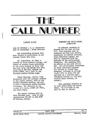 Primary view of object titled 'The Call Number, Volume 17, Number 7, April 1956'.