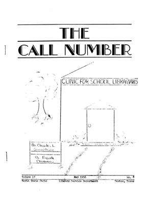 Primary view of object titled 'The Call Number, Volume 17, Number 8, May 1956'.