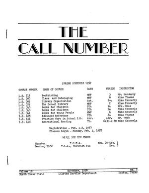 Primary view of object titled 'The Call Number, Volume 18, Number 2, November 1956'.