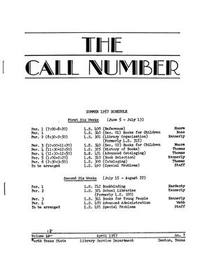 Primary view of object titled 'The Call Number, Volume 18, Number 7, April 1957'.