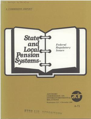 Primary view of object titled 'State and local pension systems : federal regulatory issues'.