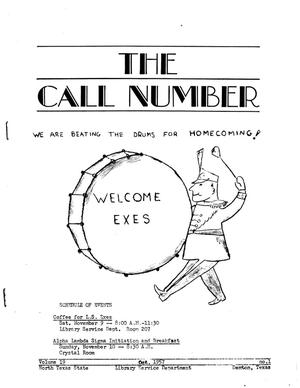Primary view of object titled 'The Call Number, Volume 19, Number 1, October 1957'.