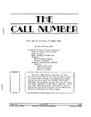 Primary view of object titled 'The Call Number, Volume 19, Number 2, November 1957'.