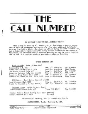 Primary view of object titled 'The Call Number, Volume 19, Number 4, January 1958'.