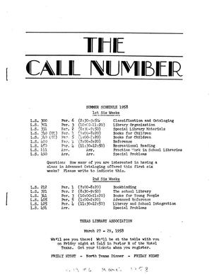 Primary view of object titled 'The Call Number, Volume 19, Number 6, March 1958'.