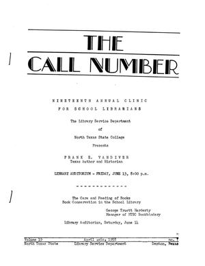 Primary view of object titled 'The Call Number, Volume 19, Number 7, April 1958'.