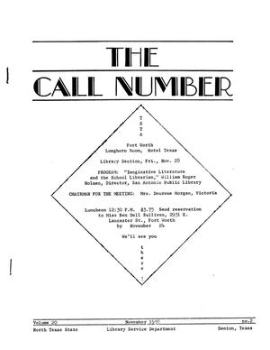 Primary view of object titled 'The Call Number, Volume 20, Number 2, November 1958'.