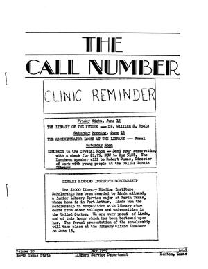 Primary view of object titled 'The Call Number, Volume 20, Number 8, May 1959'.