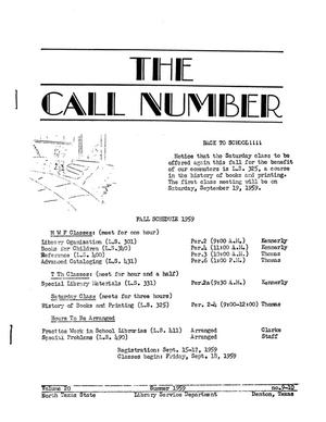 Primary view of object titled 'The Call Number, Volume 20, Number 9-10, Summer 1959'.