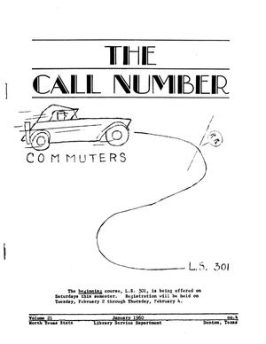 The Call Number, Volume 21, Number 4, January 1960