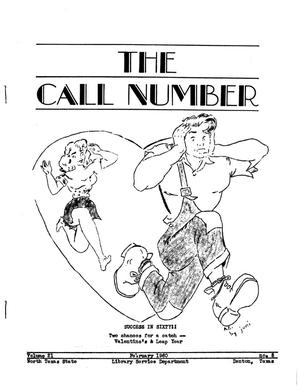 Primary view of object titled 'The Call Number, Volume 21, Number 5, February 1960'.