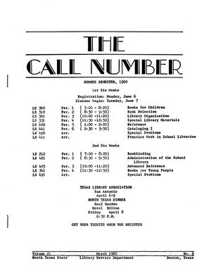 Primary view of object titled 'The Call Number, Volume 21, Number 6, March 1960'.