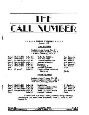 The Call Number, Volume 21, Numbers 7-8, April/May 1960
