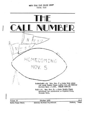Primary view of object titled 'The Call Number, Volume 22, Number 1, October 1960'.