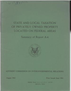 Primary view of object titled 'State and local taxation of privately owned property located on Federal areas'.