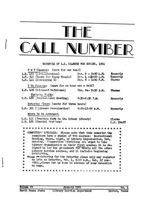 The Call Number, Volume 22, Number 4, January 1961