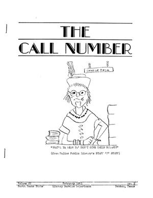 Primary view of object titled 'The Call Number, Volume 22, Number 5, February 1961'.