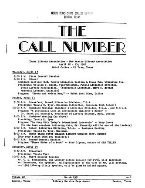 Primary view of object titled 'The Call Number, Volume 22, Number 6, March 1961'.