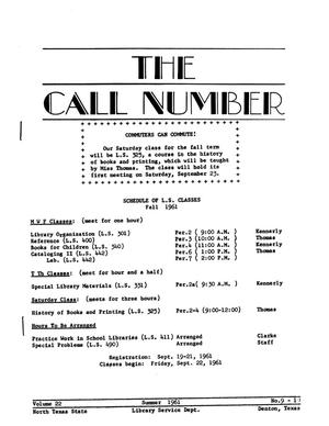 Primary view of object titled 'The Call Number, Volume 22, Numbers 9-10, Summer 1961'.