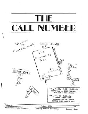 Primary view of object titled 'The Call Number, Volume 23, Number 1, October 1961'.