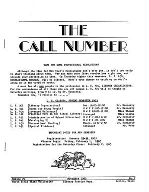 Primary view of object titled 'The Call Number, Volume 24, Number 2, November 1962'.
