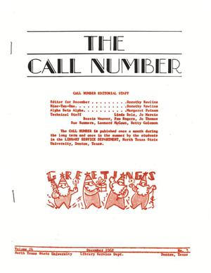 Primary view of object titled 'The Call Number, Volume 24, Number 3, December 1962'.