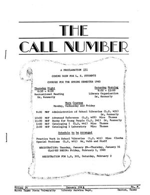 Primary view of object titled 'The Call Number, Volume 24, Number 4, January 1963'.