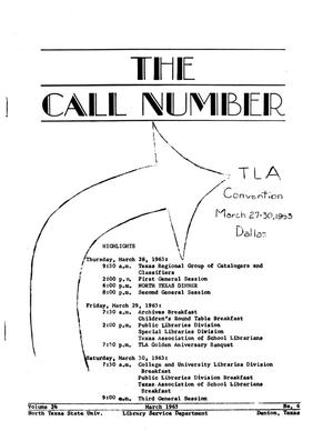 The Call Number, Volume 24, Number 6, March 1963